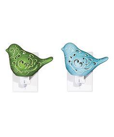 Look at this #zulilyfind! Two-Piece Ceramic Bird Night-Light Set by Evergreen #zulilyfinds