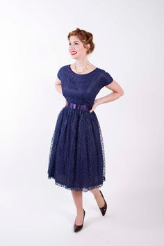 50s Vintage Dress Navy Blue Lace 1950s Vintage Party Dress with Full Skirt Matching Belt Size Small