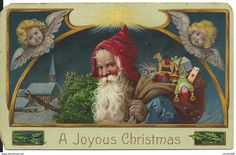 Vintage Santa Claus type - carries tree under one arm and a pack toys over his shoulder - winged angel faces up above