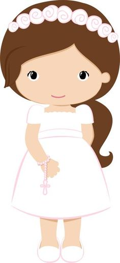Nice Girls in Pink for their First Communion. This images will help you for doing decorations, invitations, toppers, cards and any. Baptism Cookies, First Communion Decorations, Clip Art, Cute Clipart, First Holy Communion, Cute Images, Kirchen, Paper Dolls, Christening