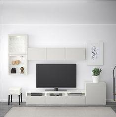 IKEA - BESTÅ TV storage combination/glass doors walnut effect light Ikea Tv Wall Unit, Home Living Room, Living Room Decor, Ikea Living Room Furniture, Living Room Tv Unit Designs, Muebles Living, Tv Wall Decor, Tv Wall Design, Tv Storage