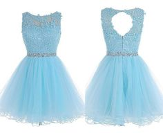 Light Blue Lace Beaded A-line Homecoming Dresses,Short Prom Dresses,Simple Cheap Homecoming Dress For Teens sold by Belle Dress. Shop more products from Belle Dress on Storenvy, the home of independent small businesses all over the world. Grad Dresses Short, Cheap Homecoming Dresses, Prom Dresses For Teens, Cute Prom Dresses, Prom Dresses 2018, Quinceanera Dresses, Simple Dresses, Beautiful Dresses, Evening Dresses