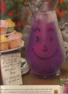 A 1961 magazine advertisement showing KOOL-AID MAN before he put on all that weight and adopted the disturbing habit of smashing through walls. Lookin' svelte, Kool-Aid Man! Lookin' svelte!