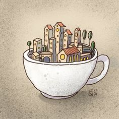 """City in a Tea Cup"" #illustration by Matthew Watkins ""You can never get a cup of tea large enough or a book long enough to suit me."" - C.S. Lewis #MobileDigitalArt"