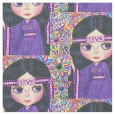 Purple Love Hippie Girl 1960s, 1970s Psychedelic Fabric