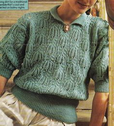 Vintage Knitting Pattern Instructions to Make a Ladies Lace Spring Top Jumper
