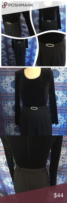 🎀Vintage🎀1980s Velvet Rhinestone Jumpsuit Oh how I wish this was in my size! Long sleeve jumpsuit with velvet bodice. Rhinestones along neckline and on removable belt. Size 6 and fits true to size. 1980s true vintage. I accept reasonable offers and ask any questions! Vintage Pants Jumpsuits & Rompers