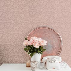 Our Spanish Lace Scallop Wall Stencil has a fish scale scallop pattern with romantic lace and is perfect stenciling across a feature wall in the living room or bedroom. This delicate and feminine sten