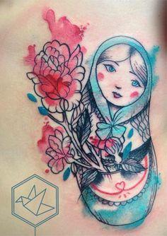 watercolor tattoo- babushka