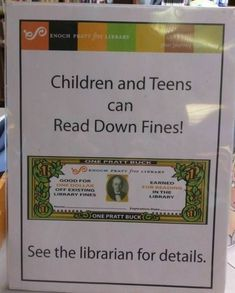 This library allows you to reduce your fine for overdue books by staying and reading in the library: