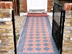 Front Garden Path, Front Path, Garden Paths, Quarry Tiles, Victorian Tiles, House Front, Pathways, Garden Inspiration, Curb Appeal