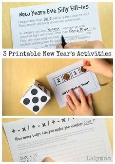 3 Free printable new years eve ideas for kids. Includes a math game, silly fill-ins and a roll-a-year die game for toddlers & preschoolers up to adults!