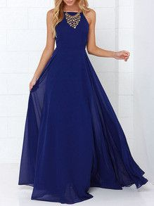 Maxi Dress in Blue with Spaghetti Strap Backless Dress