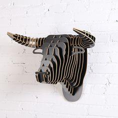 1 Unidades 9 Colores Creativo Animales De Madera Artesanías Cabeza Para arte Decoración Colgante de Pared de Madera Cabeza de Toro Obras DE Arte de DIY IW-WD014