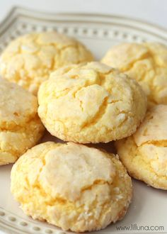 Soft and delicious Gooey Butter Cookies. Ingredients: yellow cake box mix, butter, vanilla, cream cheese, egg, powdered sugar