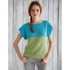Colorblock Top | Brighten any outfit with this airy colorblocked tee! Crocheted in Patons Grace, it is the perfect summer weight and color | Yarnspirations | Free Pattern | OOTD