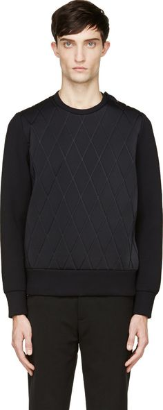 Neil Barrett: Black Neoprene Diamond Quilted Sweatshirt | SSENSE