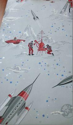 1950 39 s vintage wallpaper atomic boomerang mid century on - Vintage space wallpaper ...