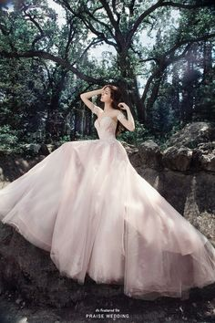 This utterly romantic blush gown from Milva is filled with whimsical spirit! » Praise Wedding Community