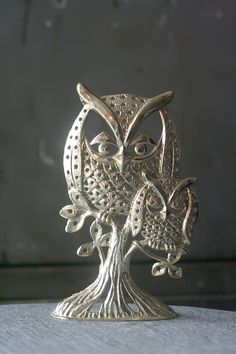 Gold Owl Earring Holder by thriftykitten on Etsy, $10.00