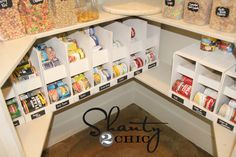 DIY can storage for the pantry, I like these way better than the ones you buy! DIY can storage for the pantry, I like these way better than the ones… Canned Good Storage, Can Storage, Pantry Storage, Kitchen Storage, Storage Ideas, Pantry Diy, Pantry Shelving, Storage Design, Camper Storage
