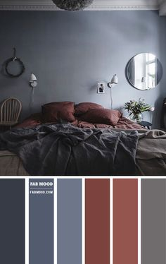 Grey Bedroom Colors, Accent Colors For Gray, Bedroom Colour Palette, Bedroom Red, Bedroom Color Schemes, Home Decor Bedroom, Grey Brown Bedrooms, Red Bedrooms, Colour Schemes