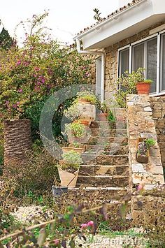 Cute stairs of a small village house decorated with flowers in pots