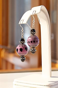Two piece Enameled Lampwork Glass NECKLACE & EARRINGS SET with sparkling Swarovski crystals. Pink and black, all sterling silver. Joann Hayssen SRA $85.00 - 20% of the purchase price will be donated to Rosemary Farm horse rescue and sanctuary.