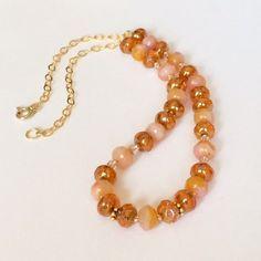 Orange Necklace Earring Set Orange Bead Necklace Set Peach Necklace Peach Bead Necklace Czech Bead Necklace Set Dressy Wedding Jewelry Gift by BarbsBeadedJewelry on Etsy