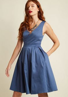 Timeless Pleated A-Line Dress in Dusk