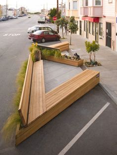 Noriega Street Parklet By Matarozzi Pelsinger Design Build - Matarozzi Pelsinger Design Build Designed This Modern Parklet For Sitting Eating And Playing Replacing Three Parking Spaces On A Street In San Francisco California Project Description The Sit Urban Furniture, Street Furniture, Garden Furniture, Furniture Projects, Furniture Stores, Cheap Furniture, Wood Projects, Furniture Design, Outdoor Furniture