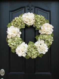 """Year Round Wreaths, Green Hydrangea Wreath, Spring Wreath, 22"""" Hydrangea Wreath, Spring Decor, Summer Wreaths, Spring Hydrangeas by twoinspireyou on Etsy"""