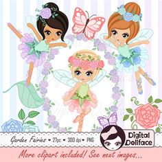 ♥♥♥ 10% OFF with COUPON CODE: PIN10 ♥♥♥ Fairy Clipart Garden Fairies Clip Art for Fairy by DigitalDollface
