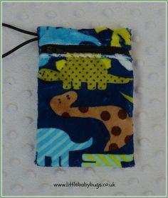 Blue Dinosaur Small Waterproof Bag Dummy Pod by LittleBabybugsLtd