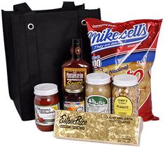 """Local favorites from """"The Buckeye State"""" include Mike-Sell's potato chips, Montgomery Inn BBQ sauce, Esther Price candy, Mamma DiSalvo's sauce, The Pine Club salad dressing, Jump's peanuts and local Ohio's Dorothy Lane Market preserves."""