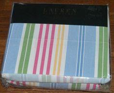 Ralph-Lauren-Awning-Stripe-Pink-Yellow-Blue-Green-Queen-Sheet-Set-New-1st-Qualit