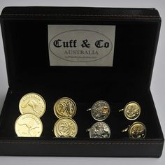 The Gold Plated Australian Coin Cufflinks – 4 Pair Set includes three Gold Plated Coin Cufflinks and one natural coloured pair. A stylish quadruple set of our popular Australian Coin Cufflinks at a great price.