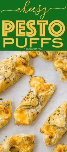 Cheesy Pesto Puffs - only 4 ingredients! Great as an appetizer or an accompaniment to your meal. Can assemble ahead of time and freeze for later. These things fly off the plate! Everyone LOVES this flavor combination!!!!