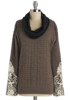 Date with Nature Top. While the scenery swoons you, you flatter it right back with the crocheted sleeve cuffs of this earthen-grey top. #brown #modcloth