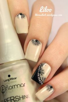 Taupe and Black Nail Design