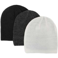 BKE Ridge Three Pack Reversible Beanies - Cream/Black/Grey ($29) ❤ liked on Polyvore featuring men's fashion, men's accessories, men's hats and mens beanie hats