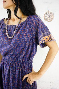 BUDDHA long tunic Top 70s Block print blue dress Boho Hippie Buddha Caftan long side slits Yoga dress Novelty Block print size Small