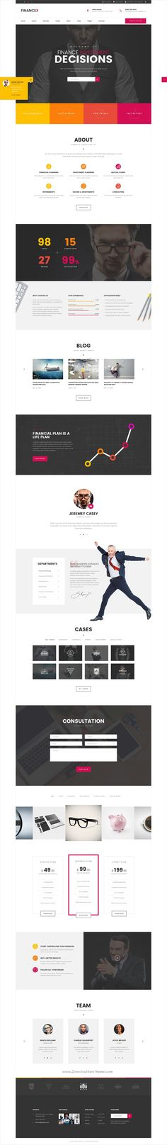 FinanceX is a creative and modern design #PSD template for corporate, #finance, consulting or #business organizations website with 27 layered PSD files download now➩ https://themeforest.net/item/financex-corporate-finance-consultants-psd-template/19335162?ref=Datasata
