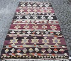 "VINTAGE Turkish Kilim Rug, Decorative Purple Kilim Rug, Handwoven Wool Kilim Rug 114"" x 61 inch FREE SHIPPING"