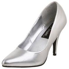 Pleaser Women`s Vanity Pump,Silver,6 M $44.95