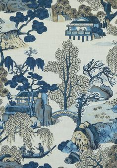 Asian Scenic - Blue/Green fabric, from the Dynasty collection by Thibaut Blue And Green Curtains, Blue And Green Living Room, Green Fabric, Blue Green, Blue Floral Curtains, Chinoiserie Fabric, Chinoiserie Wallpaper, Chinoiserie Chic, Scenic Wallpaper