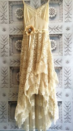 cream & tea stained lace chiffon crochet by mermaidmisskristin, $200.00