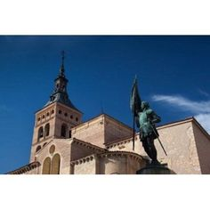 Plaza San Martin and San Martin Church Segovia Spain Canvas Art - Walter Bibikow DanitaDelimont (18 x 12)