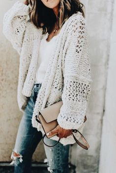 132cbb201e chunky off white cardigan with bright white tee and distressed jeans Cardigan  Outfits