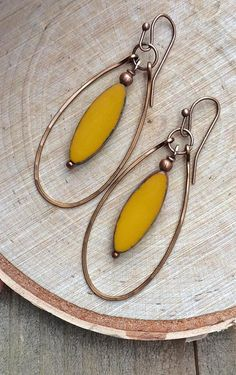 Boho Earrings Copper Hoops with Yellow Czech glass